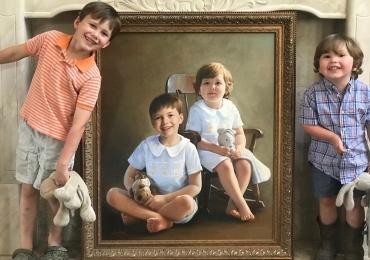 Portrete la comanda. Manopera pictura manuala in ulei pe panza. Portrete copii