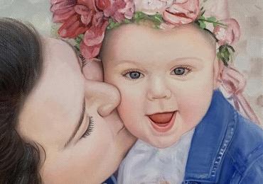 Portrete pictate cu parinti, portret parinti si copii, portret cu mama si copilul, portret tata si fiica, portret tati cu copii