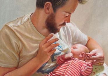 Portrete pictate dupa fotografie, tata si fiu nou nascut Tablouri pictate manual, Cadouri barbati si idei haioase,  cadouri iubit,  Cadou pentru iubit sau sot, portret la comanda, Tablou pictat pe panza