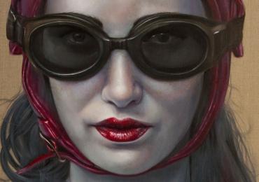 Portrete pictate manual, portret de femeie cu casca si ochelari de aviator