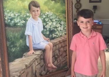 Portrete pictate manual, portret la comanda, tablouri copii. Portrete cu copii
