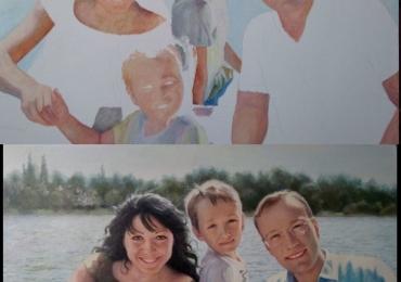Portrete realistice dupa fotografie, Tablouri pictate manual, Portret de familie, portrete cu mai multe personajre