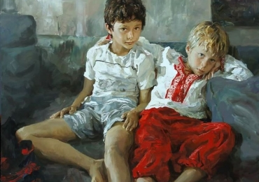 Portrete reusite la comanda, Tablouri pictate manual, Portret cu copii, portret cu copilul Dvs, portret dupa poza coplului tau