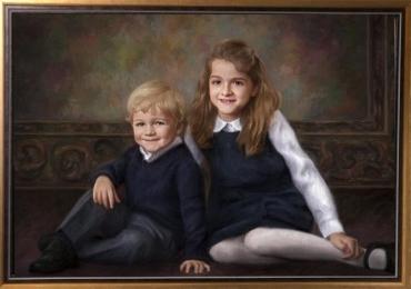Portrete reusite la comanda, Tablouri pictate manual, Portret cu copii, portret cu copilul Dvs, portret dupa poza coplului tau, portret frate si sora