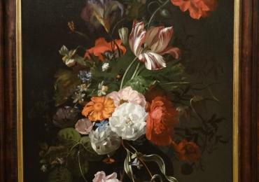 Rachel Ruysch, Vas cu fiori, tablou cu flori multicolore , tablou cu flori de camp si flori de gradina, tablou floral