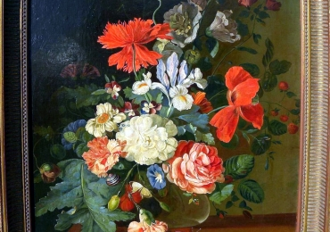 Realistic antique still life oil painting in Dutch 17th century style, Vas de sticla cu fiori de gradina, tablou cu flori de maci si trandafir