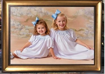 Realizez tablouri la comanda, Tablouri pictate pe panza, tablouri canvas copii, Portret cu fetite, portrete elegante