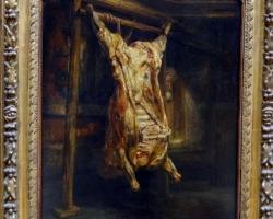 Rembrandt Harmensz. van Rijn, called Rembrandt, The slaughtered ox, Tablou natura moarta cu bou transat in abator