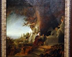 Rembrandt van Rijn, Christ and St Mary Magdalen at the Tomb, 1638, Tablou cu peisaj de vara, tablou cu oameni in parc