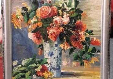 Renoir, Roses and Jasmine, Buchet de flori, tablou cu flori de iasomie in vaza, tablou floral
