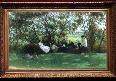 Reproducere pictura celebra peisaj de vara, pe o banca din iarba 1876, the turf