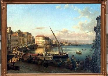 Reproducere pictura celebra tablou peisaj marin, peisaj arhitectural, promenad