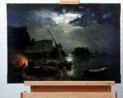 Reproducere pictura celebra tablou peisaj marin, vedere din Napoli la lumina