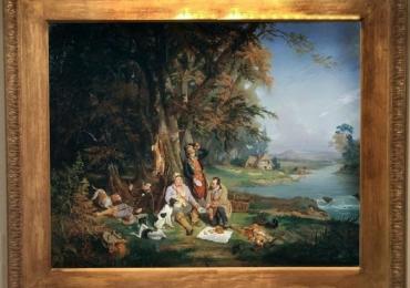 Reproducere pictura celebra tablou peisaj vanatoresc. Tablou cu vanator la picnic in padure
