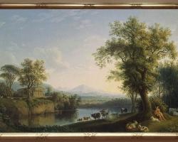 Reproducere pictura peisaj de vara, peisaj de vara cu vaci langa rau. Landscape