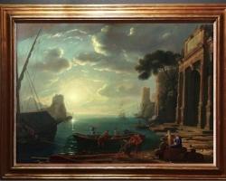 Reproducere pictura peisaj port marin celebru, dimineata in port, Pictor Claud