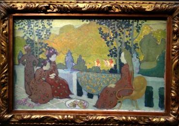 Reproduceri Picturi Celebre, Maurice Denis Soir de septembre, dit aussi, femmes assises a la terrasse, tablou peisaj de vara cu femei in gradina