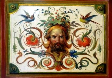 Reproduceri celebre Vatican, reproducere fresca din vatican cu decoratii cu chip de barbat, reproducere fresca cu pasari flori si fructe