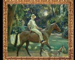 Return from the nets, portrait of Stephen Edward Vivian 1919, Tablou cu peisaj de vara, tablou cu parc, tablou cu cal, peisaj din natura, tablou cu femeie in peisaj de vara