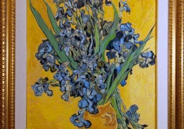 Riproduzioni quadri, dipinti, Reproducere celebra Van Gogh, Tablou natura moarta cu flori mov, tablou natura statica cu irisi