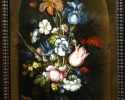 Roelant Savery, Flower still life in a niche, Vas cu fiori de gradina, tablou cu flori multicolore, tablou cu flori de primavara, tablou floral