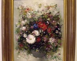 Rolf Schröde 1937, Buchet de flori, tablou cu flori in vaza, tablou floral