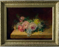 Roses on the Table Old French Painting, oil on canvas, Buchet de flori, tablou aranjament floral, tablou floral, Tablou cu flori de trandafiri