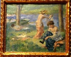 Rupert Bunny, The bathers, tablou peisaj de vara cu rau in padure, Tablou cu oameni la scaldat, Tablouri Pictori Celebri, Reproduceri