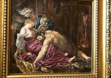 Tablou Samson si Delilah, reproducere celebra, tablou pictat in ulei pe panza 81×77 cm