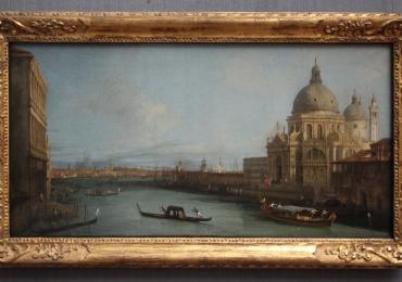Santa Maria della Salute, Giovanni Antonio Canal, Canaletto, Tablou cu peisaj Venetian, tablou cu gondole, tablou cu vapoare, tablou nautic
