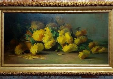 Sarah E Bender De Wolfe, Still Life Yellow flowers 19th c, Buchet de flori, tablou cu flori galbene, tablou floral