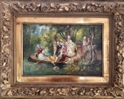 Scene of Villa Borghese in Rome, tablou peisaj de vara, tablou cu lac, Tablou cu padure , Tablouri Pictori Celebri, Reproduceri Picturi Celebre