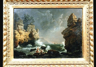 Seascape by Claude Joseph Vernet, Tablou cu peisaj marin, tablou cu stanci la malul marii, tablou cu valurile marii