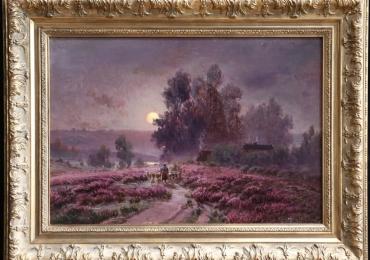 Shepherd and Flock by Moonlight, Gaston Anglade, Tablou cu peisaj de vara, tablou cu luna plina, tablou cu flori mov, peisaj din natura