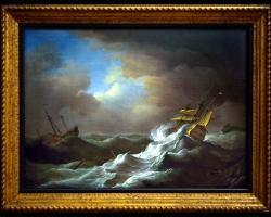 Ships in distress in a storm 1720 Peter Monamy, Tablou cu peisaj marin cu vapoare, tablou cu valurile marii, tablou nautic, tablou cu furtuna pe mare