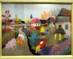 Slavko Stolnik Cows coming home, tablou peisaj de varacu vaci, peisaj naiv, pictura naiva, Tablouri Pictori Celebri, Reproduceri Picturi
