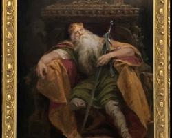 Sleeping King Antique Oil Painting 19th C, Tablou cu rege pe tron, tablou cu barbat cu barba alba