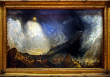 Snow Storm, Hannibal and his army crossing the Alps exhibited 1812, Joseph Mallord William Turner, Tablou cu peisaj marin cu vapoare, tablou cu valurile marii, tablou nautic, tablou cu furtuna pe mare