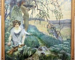 Song of Nature 1906 František Jaku, tablou peisaj de vara cu femei, Tablouri Pictori Celebri, Reproduceri Picturi Celebre