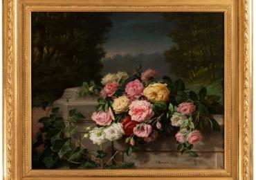 Still Life of Thrown Roses, Jean Bonnet 1878, 19th  C, Buchet de flori, tablou cu flori in vaza, tablou floral