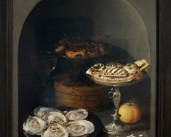 Still Life with Oysters, Sweetmeats and Dried Fruit in a Stone Niche, reproducere pictor celebru