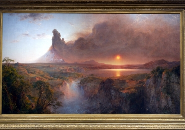 Study of Cotopaxi Frederic Edwin Church. Tablou pictat manual in ulei pe panza