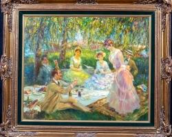 Summer River Picnic Landscape, Tablou cu peisaj de vara, tablou cu parc, tablou cu flori, peisaj din natura, tablou cu femeie si barbati in peisaj de vara