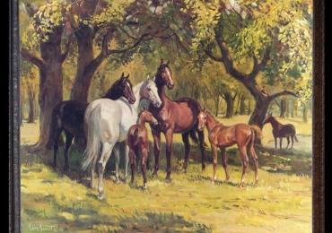 Summertime by Sam Savitt, Tablou cu peisaj de vara, tablou cu cai, tablou cu animale, peisaj din natura