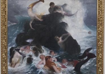 Swiss artist Arnold Böcklin. His Iconic  Isle of the dead, Tablou cu peisaj marin, tablou cu stanci la malul marii, tablou cu naufragiati, tablou cu sirene, tablou cu furtuna pe mare