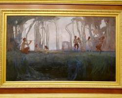Sydney Long, Pan, tablou peisaj de vara cu femei si satiri in padure, Tablouri Pictori Celebri, Reproduceri Picturi Celebre