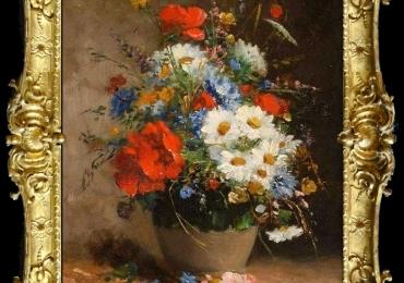 TPictura cu buchet de flori salbatice, Tablou cu flori de maci rosii in vaza, tablou cu aranjament floral cu flori de mac, Tablou floral, idei de cadouri
