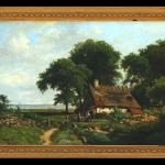 Tablou Peisaj bavarez, Landscape Painting by Edvard Michael Jensen, Tablou cu peisaj de vara, tablou mare, peisaj din natura, tablou cu casuta la malul marii, tablou cu ulita de sat