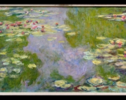 Tablou Pictura abstracta, Monet tablou sufragerie, tablou dimensiune mare, tablou cu flori, Lac cu nuferi, Waterlilies, Claude