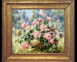 Tablou Pictura cu buchet de trandafiri roz, tablouri cu aranjamente florale, tablouri cu flori de camp, picturi florale